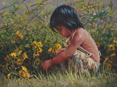 American Indian Children Painting - The Harvest by Jim Clements