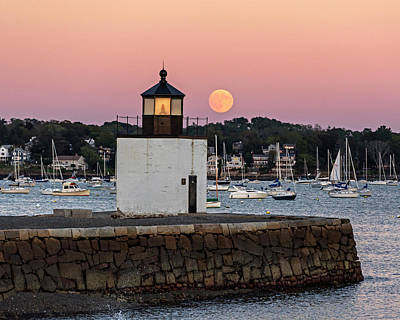Photograph - The Harvest Moon Rising On Derby Light Salem Ma by Toby McGuire