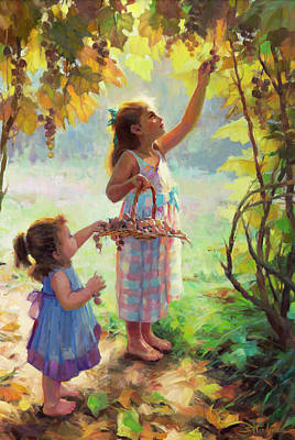 Grape Wall Art - Painting - The Harvesters by Steve Henderson