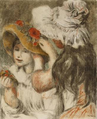 Black Hair Painting - The Hatpin by  Pierre Auguste Renoir
