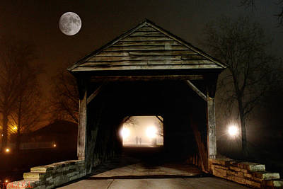 The Haunted Bridge Art Print by Michael Rucker