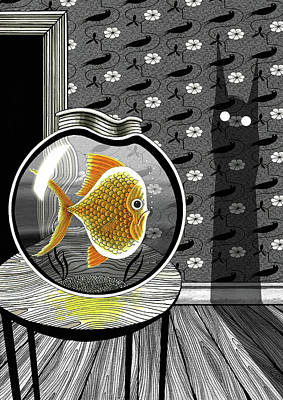 Goldfish Drawing - The Haunted Goldfish Bowl  by Andrew Hitchen