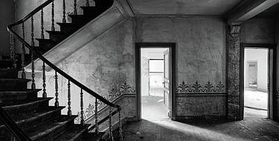 The Haunted Staircase - Abandoned Building Bw Art Print