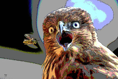 Red Tail Hawk Mixed Media - The Hawk by Charles Shoup