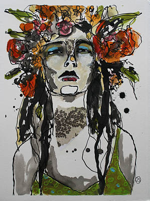 Portrait Mixed Media Painting - The Head Dress by Jane Spakowsky