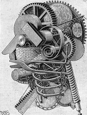 Machinery Drawing - The Head Of An Inventor by Louis Poyet