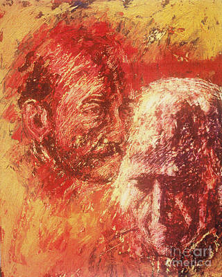 Painting - The Heart Of Ignatius On Mind Of Arrupe - Bgaai by Fr Bob Gilroy SJ