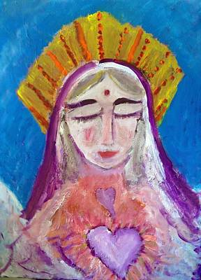 The Heart Of Mother Mary Original by Joan Hangarter