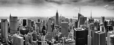 Panoramic Photograph - New York City Skyline Bw by Az Jackson