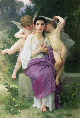 Ground Painting - The Hearts Awakening by William Adolphe Bouguereau