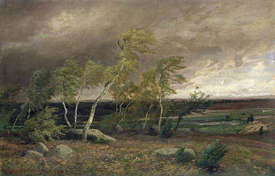 1905 Painting - The Heath In A Storm by Valentin Ruths
