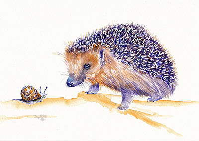 Painting - The Hedgehog And Snail by Debra Hall