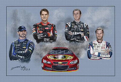Dale Earnhardt Painting - The Hendrick Team by Darren Jolly