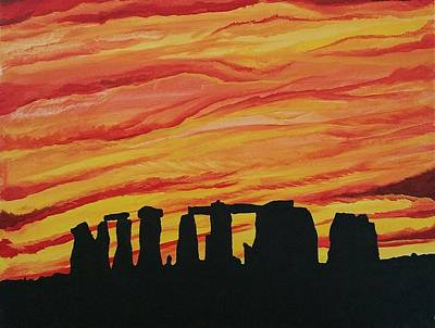 Henge Painting - The Henge At Sunset by Christopher Hodges