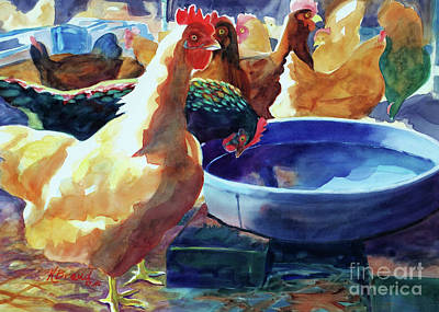 The Hen Painting - The Henhouse Watering Hole by Kathy Braud