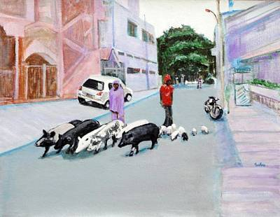The Herd 5 - Pigs Art Print by Usha Shantharam