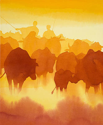 Masai Painting - The Herd  by Alison Nicholls