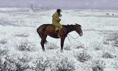 Oil Painting - The Herd Boy, Frederic Remington, Digitally Enhaced by digitally enhanced by Thomas Pollart