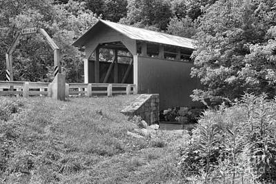 Photograph - The Herline Covered Bridge Black And White by Adam Jewell