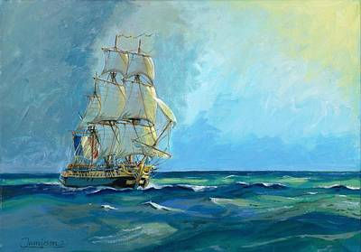 Hermione Painting - 'the Hermione - The Frigate Of Liberty' by Andrew Stewart Jamieson