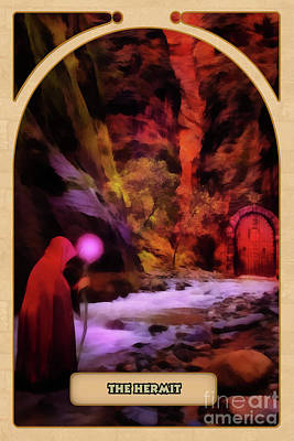 Divination Digital Art - The Hermit by John Edwards
