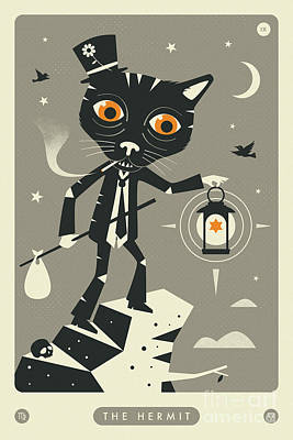 Tarot Wall Art - Digital Art - The Hermit Tarot Card Cat  by Jazzberry Blue