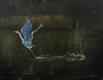 Painting - The Heron And The Hippo by Robert Teeling