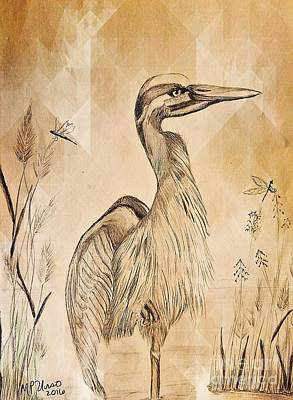 Drawing - The Heron by Maria Urso