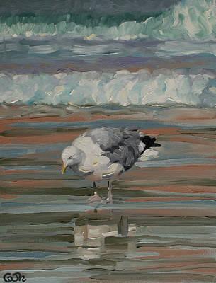 Painting - The Herring Gull on Golden Strand Doogurt Achill Mayo Ireland by Catherine Considine