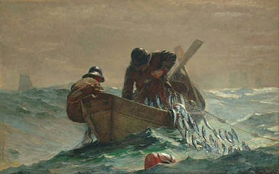 Net Painting - The Herring Net  By Winslow Homer 1885 by Movie Poster Prints
