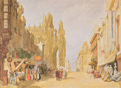 Perspective Painting - The High Street At Alencon by John Sell Cotman