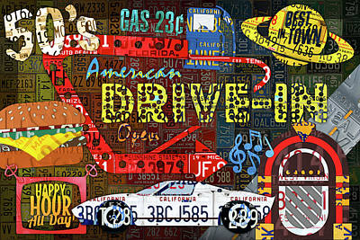 Mixed Media - The Highway Never Closes License Plate Art Collage by Design Turnpike
