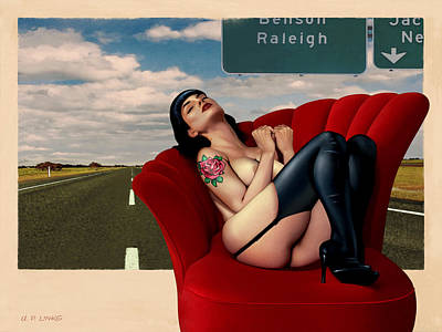 Painting - The Highway Pinup by Udo Linke