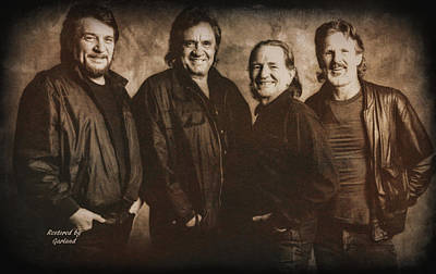 Johnny Cash Mixed Media - The Highwaymen 3 by Garland Johnson