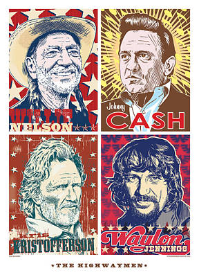 Johnny Cash Digital Art - The Highwaymen by Jim Zahniser