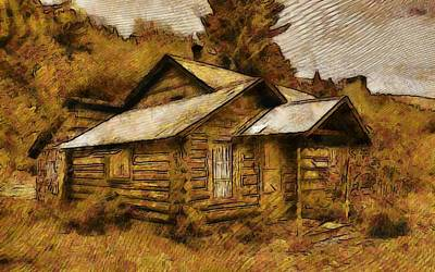 Log Cabin Mixed Media - The Hillbilly Cabin by Mario Carini