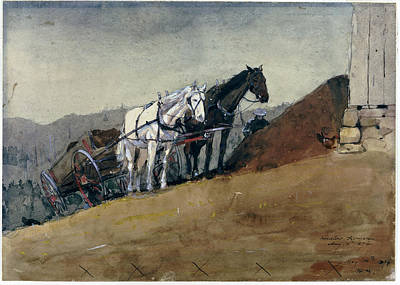 Winslow Homer Drawing - The Hilltop Barn. Houghton Farm by Winslow Homer