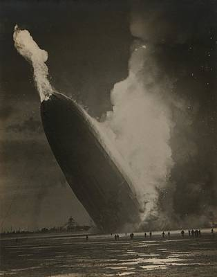 Rire Photograph - The Hindenburg Hits The Ground by Everett