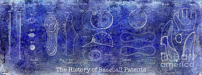 The History Of Baseball Patents Blue Art Print by Jon Neidert