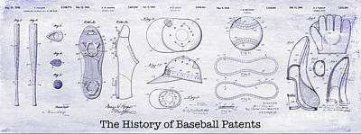 The History Of Baseball Patents Blueprint Art Print by Jon Neidert
