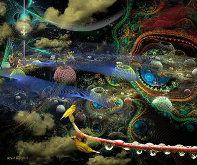 The History Of The Bioluminoidal Fractalization Process Art Print by Rhonda Strickland