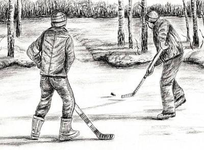 Hockey Games Drawing - The Hockey Game by Josie Duff