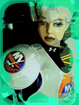 Digital Art - The Hockey Girl by Ed Weidman