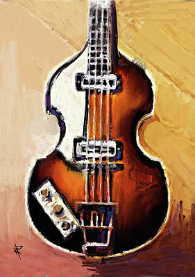 Music Mixed Media - The Hofner Bass by Russell Pierce