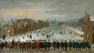 Skiing Fine Art Painting - The Hofvijver In The Hague by Adam van Breen