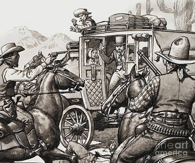Bandit Painting - The Hold Up Of The First Stage Coach To Pass Through Palm Springs by Pat Nicolle