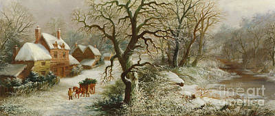 Winter Landscape Painting - The Holly Cart by William Oliver Stone