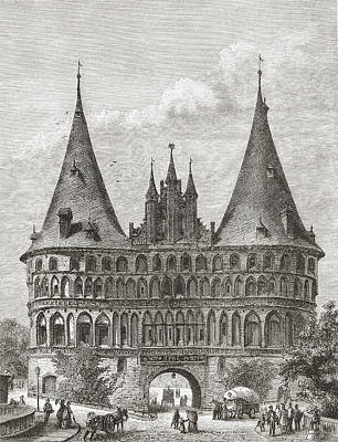 Medieval Entrance Drawing - The Holsten Gate, Lubeck, Germany In by Vintage Design Pics