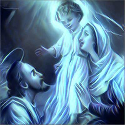 Mother Mary Digital Art - The Holy Family by Anita Fugoso