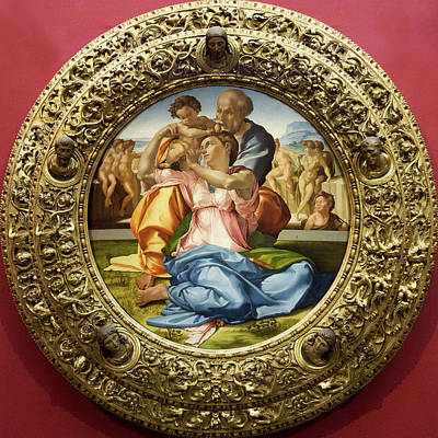Photograph - The Holy Family - Doni Tondo - Michelangelo - Round Canvas Version by Weston Westmoreland
